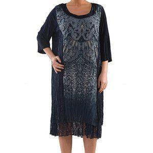 Plus Size Dress with Digital Print - La Mouette